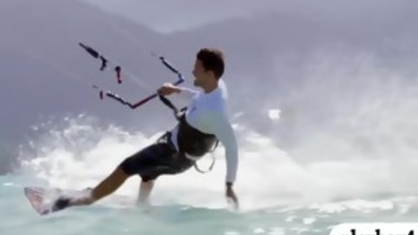 Nasty badass babes enjoyed kite surfing
