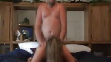 Big tits wife pays landlord with her ass