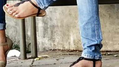 Candid teen indian feet in sandals