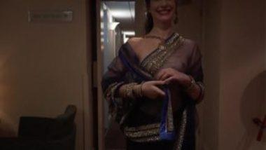 Desi Woman's Bold Walk Showing Hot Tits