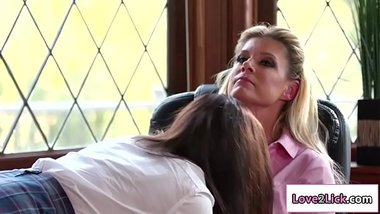 Hot 25yo licks lesbian principals pussy