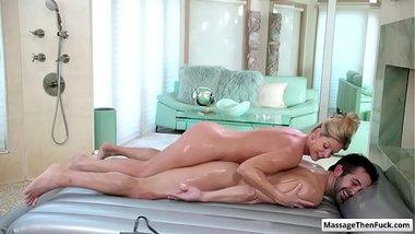 Sexy blonde milf India Summer gives amazing sex nuru massage