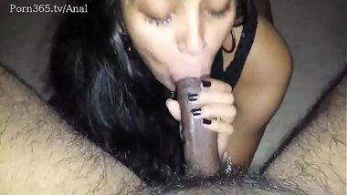 indian sexy beautiful girlfriend in black dress shows her blowjob skills