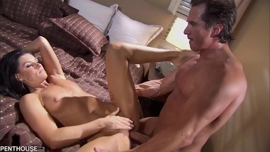 Sexy Milf India Summer rubs her clit while getting her trimmed pussy banged