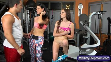 Tight teen babe and stepmom nasty threesome sex in the gym