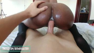 HOT ebony latina fucked in her ass by white guy