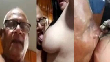 Horny old man sucking big boobs MMS