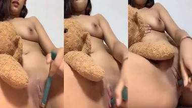 Cute girl fingering pussy on selfie cam video