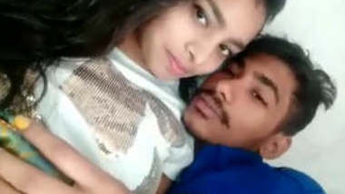 Cute Desi Couple Kissing Romance Home alone