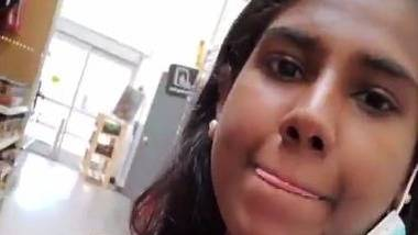 Tamil hot girl showing boos in a shopping mall