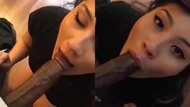 Desi Sexy white milf gives deep blowjob