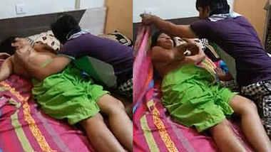 Desi Threesome Randi Bhabhi Boob pressing and romance