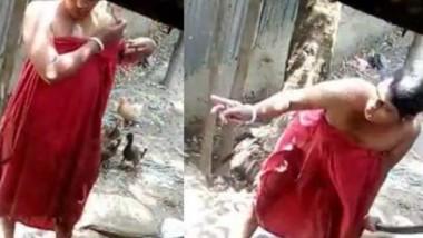 Desi Married Boudi Bathing Secretly Captured By Neighbour