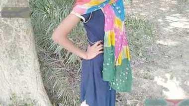 Desi cute poor village girl outdoor fucking for money