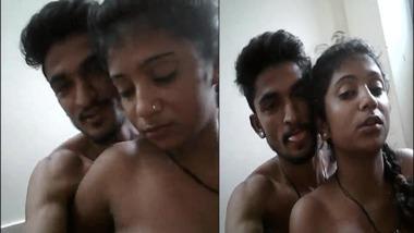 Amateur Desi Topless girl kissing her boyfriend in selfie video