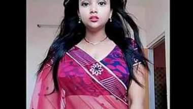 hot and erotic mourima sexy navel show in transparent saree.