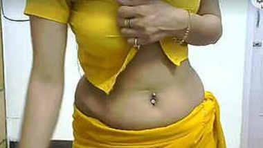 yellow saree desi babe nude strip and dance on cam