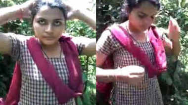 Indian College girl giving her boobs for suck first time on net