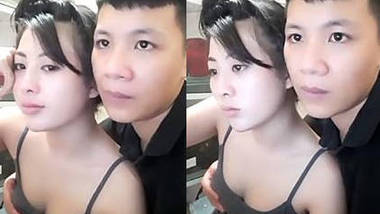Thai GF BF, boobs being groped, cleavage hot