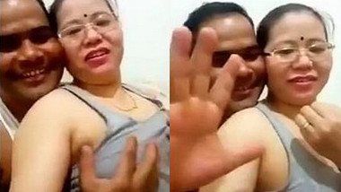 Nepali aunty take selfie video when her hubby pressing boobs with clear Nepali audio