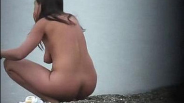 hot aunty filmed nude beach…
