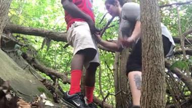 White Girl Blowjob to Black Guy In Woods