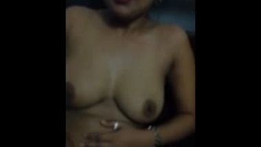 Hot Indian babe strips and fingers Over Skype