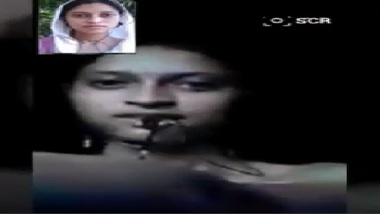 Lesbian indian girl nude on video call with friend
