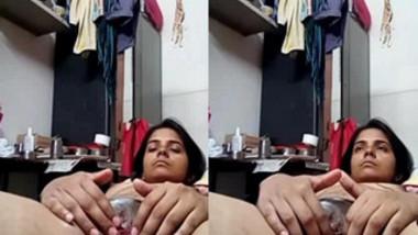 During video call nude Desi girl shows boyfriend her sweet XXX muff