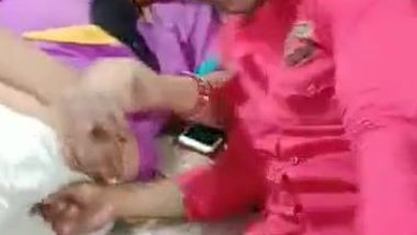 Desi mom lies next to stepson and kisses his lips in front of camera
