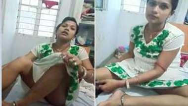 Bawdy Desi woman takes her long XXX legs to light wearing panties