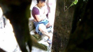 Desi widow wife fingering outdoor with moaning on hidden cam hot video