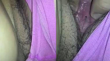 Desi wears her sex violet panties and puts hand down there in XXX clip