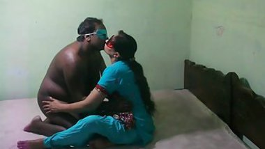 Clothed Desi XXX female with ponytail kisses the masked husband